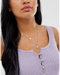 ASOS Metallic Multirow Necklace With Stone Disc Charms And Star Pendant