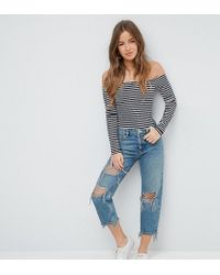 ASOS Blue Recycled Florence Authentic Straight Leg Jeans In Chayne Green Cast With Rips
