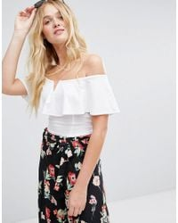 28ff50867995d9 Lyst - Bershka Off The Shoulder Crop Top in White