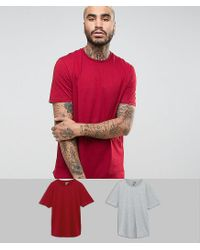 ASOS Red Longline T-shirt With Curved Hem 2 Pack for men