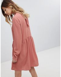 Pieces Bow Mini Smock Dress In Pink