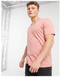 Розовая Футболка С V‐образным Вырезом ASOS для него, цвет: Pink