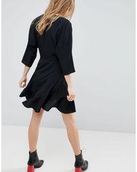 ASOS Black Asos Wrap Front Mini Frill Dress
