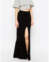 ASOS - Black Maxi Skirt With Tiered Hem And Splice - Lyst