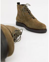 Battle - Stivali stringati kaki scamosciati di H by Hudson in Green da Uomo