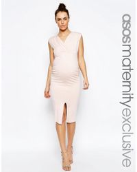 ASOS | Pink Midi Bodycon Dress With Ruching And Split | Lyst