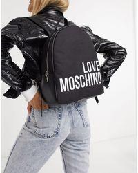 Mochila con logo grande en negro Love Moschino de color Black