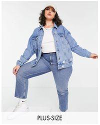 Синяя Джинсовая Oversize Куртка С Рваной Отделкой -голубой Missguided, цвет: Blue