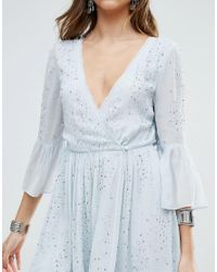 Free People | Blue Winter Solstice Embellished Party Dress | Lyst