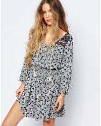 Hollister White Printed Smock Dress