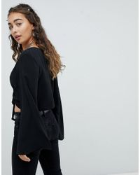 ASOS - Black Asos Plunge Top With Knot Front - Lyst