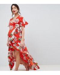b857d02759 ASOS Asos Design Maternity Ruffle Wrap Maxi Dress In Floral Jacquard ...