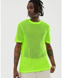 Camiseta de punto de malla en amarillo neón ASOS de hombre de color Green