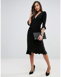 ASOS DESIGN - Black Asos Wrap Front Midi Dress With Frill Detail - Lyst