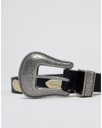 ASOS - Faux Leather Slim Belt In Black With Western Buckle And Feather Embroidery for Men - Lyst