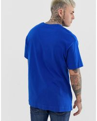 T-shirt oversize blu con logo piccolo di Good For Nothing in Blue da Uomo