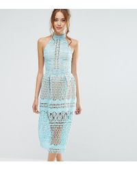 Jarlo - Blue High Neck Allover Cutwork Lace Prom Skater Midi Dress - Lyst