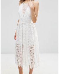 ASOS White Bridal Premium Lace Midi Dress With Sheer Insert