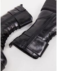 Asher - Bottines en cuir talon mi-haut à lacets et boucles Schuh en coloris Black