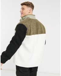 Topman Black Cut And Sew Teddy Jacket for men