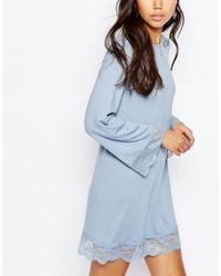 ASOS - Blue Mini Swing Dress With Lace Hem - Lyst