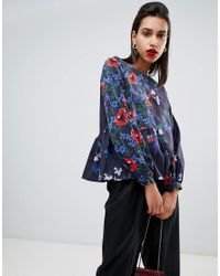 French Connection Blue Lisette Crepe Light Long Sleeved Floral Top