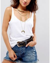 ASOS - Metallic Multirow Layered Choker Horn Necklace - Lyst