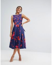 True Violet Blue Floral Debutante Midi Dress With Full Circle Skirt