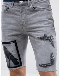 d0077079f7 Lyst - Religion Denim Shorts With Bird Patch in Gray for Men