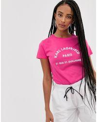 Camiseta con logo de dirección Karl Lagerfeld de color Red