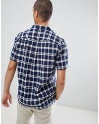 Prestwich - Camicia a maniche corte blu navy a quadri con rever di Farah in Blue da Uomo