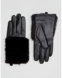 ASOS - Black Leather & Faux Fur Mix Gloves With Touch Screen - Lyst
