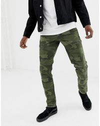 Abercrombie & Fitch Camo Print Cargo Pants Slim Fit In Green for men