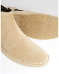 ASOS Natural Chelsea Desert Boots In Stone Suede - Stone for men