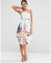 ASOS Blue Fold Over Bandeau Mini Prom Dress In Placed Bouquet Floral