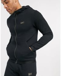 EA7 Armani – Gold Label – er Trainingsanzug aus Frottee-Fleece mit Logo in Black für Herren