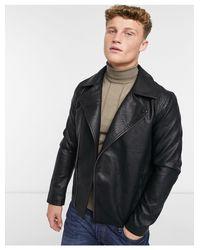 Черная Куртка Из Искусственной Кожи С Ассиметричной Молнией Originals-черный Jack & Jones для него, цвет: Black