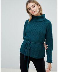 Fashion Union - Green Roll Neck Jumper With Waist Tie - Lyst