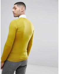 ASOS - Green Asos Muscle Fit Merino Wool Jumper In Yellow for Men - Lyst