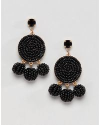 ASOS - Black Beaded Disc And Ball Drop Earrings - Lyst