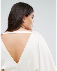 ASOS White Bridal Bridal Kimono Plunge Back Maxi Dress