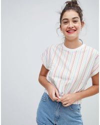 ASOS - White Design Top With Elasticated Hem In Rainbow Stripe - Lyst