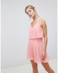 Vestitino plissettato con top corto di ASOS in Pink