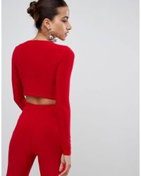 Club L - Red Long Sleeve Cropped Top - Lyst
