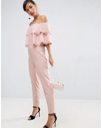 ASOS - Pink Jumpsuit With Double Ruffle Bardot And Lace Trim Detail - Lyst