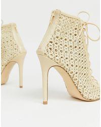 Chaussures tressées à talons et lacets - Crème Miss Selfridge en coloris Black