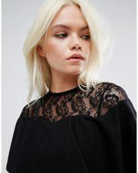 ASOS - Black Ruffle Front Lace Mix Bodycon Mini Dress - Lyst