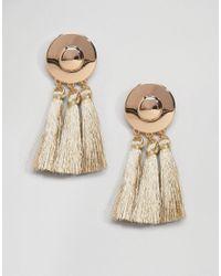 ASOS Metallic Metal Disc Tassel Earrings