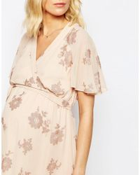ASOS - Multicolor Flutter Sleeve Midi Dress With Pretty Lurex Floral - Lyst