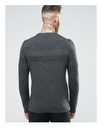 Ted Baker | Gray Knitted Sweater With Contrast Yoke for Men | Lyst